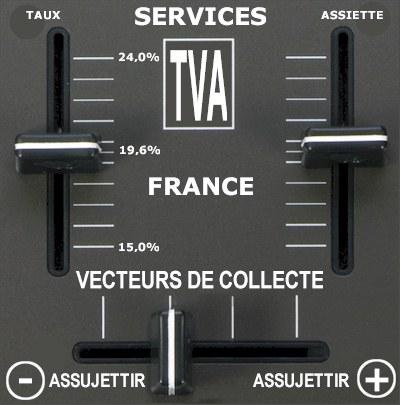 Les 3 curseurs recettes TVA France taux assiette vecteur