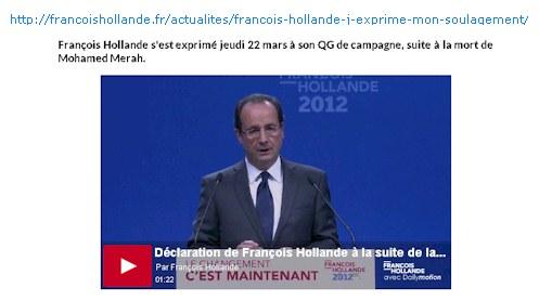 QG de campagne F. Hollande 22-03-2012 tv avant N. Sarkozy