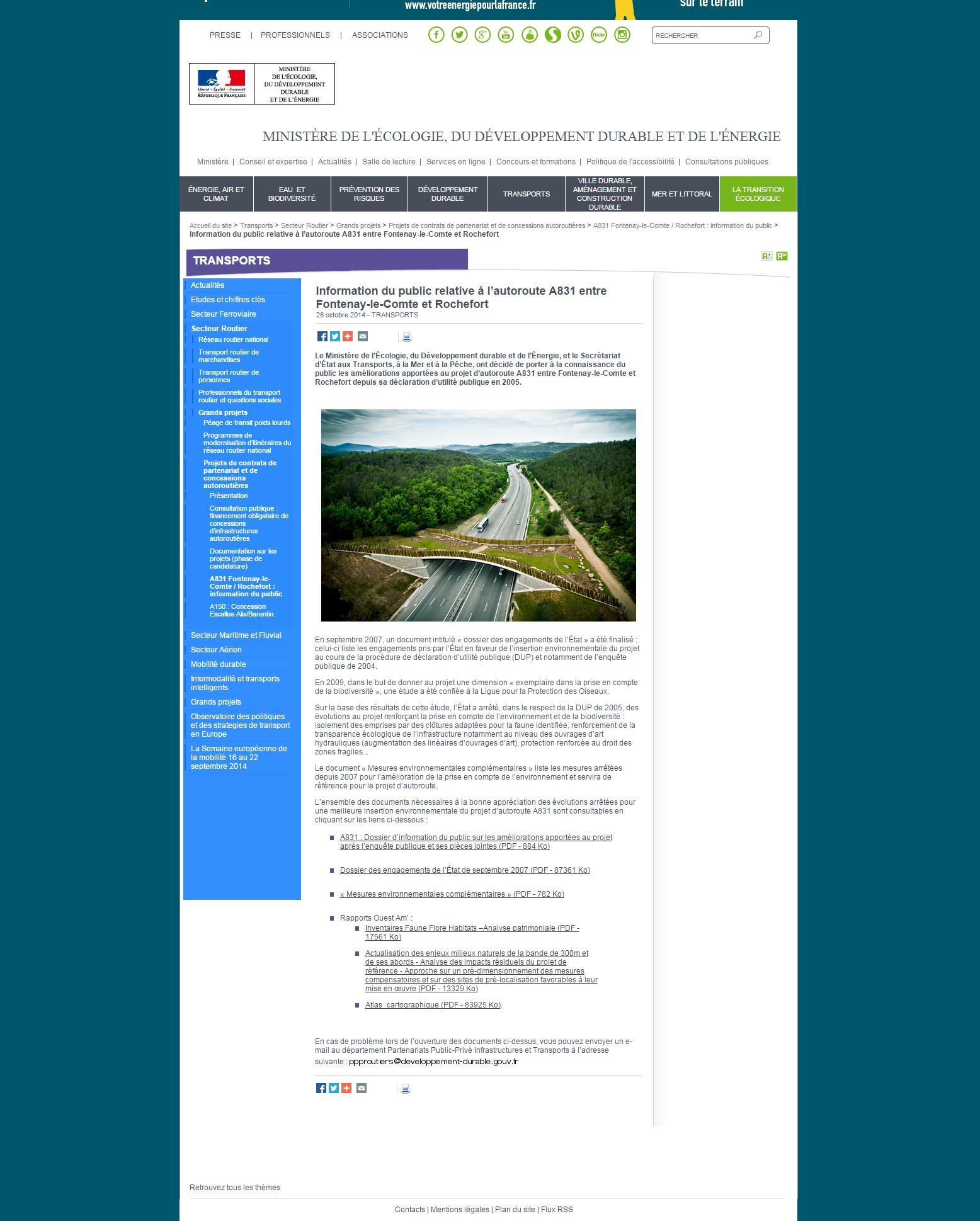 Information du public relative à l'autoroute A831 entre Fontenay-le-Comte et Rochefort
