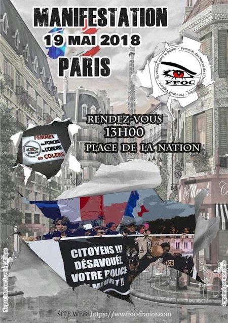 Manifestation Paris Nation 19 mai 2018 - FFOC - Femmes des Forces de l'Ordre en Colère